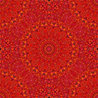シームレスな幾何学的な赤いマンダラ飾りパターン背景