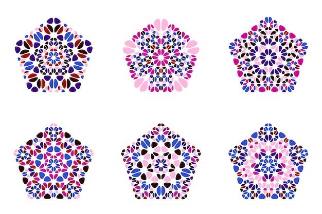 孤立した抽象的なカラフルな花飾り五角形シンボルセット