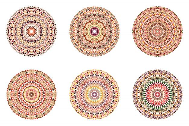 Круглый абстрактный круговой гравий орнамент набор мандалы