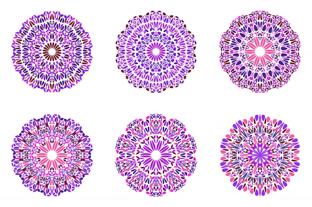 Абстрактный красочный богато круглый цветок мандалы набор символов