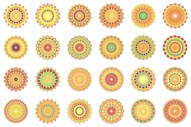 Набор геометрических абстрактных круглой мозаики треугольник мандалы