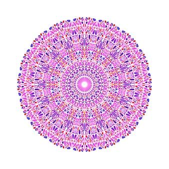 抽象的な円形の幾何学的なカラフルな花飾りパターンマンダラ