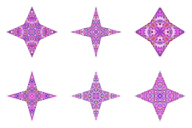 幾何学的な孤立した多角形の三角形スターシンボルテンプレートセット
