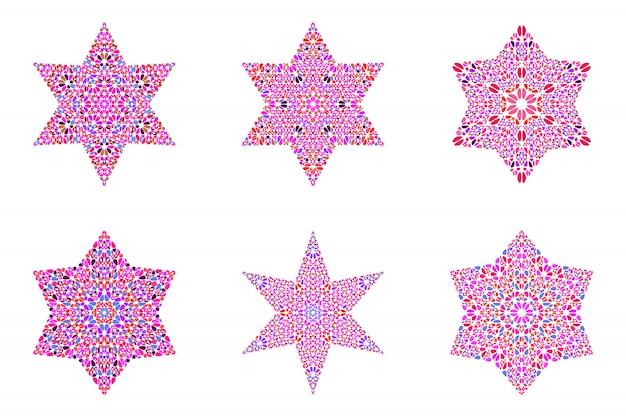 孤立した幾何学的な石飾りスターテンプレートセット