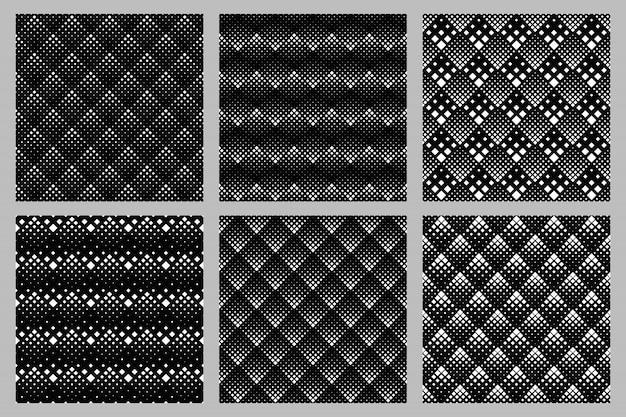 幾何学的な抽象的なシームレスな斜めの正方形のパターン背景セット