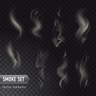 熱い食べ物や飲み物から透明な背景に分離された別の現実的な高詳細な煙のコレクション