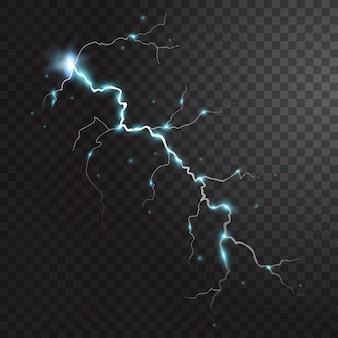 Гроза реалистичный элемент с цветными вспышками молний искры на черном полупрозрачном фоне изолированы