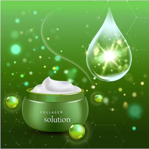 Реалистичные коллаген крем бутылка на зеленом фоне. иллюстрация
