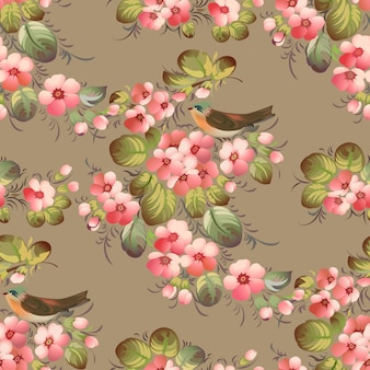 Модный бесшовный цветочный узор с птицами. иллюстрация