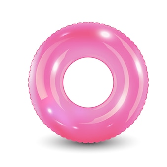 Плавать кольцо. надувная резиновая игрушка. реалистичные летнее время иллюстрации. летние каникулы или пункт безопасности поездки. вид сверху плавательный круг для океана, моря, бассейна.