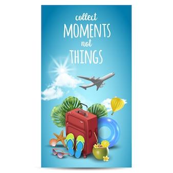 Реалистичные летние каникулы дизайн для путешествий с летних предметов. цитата путешествий.