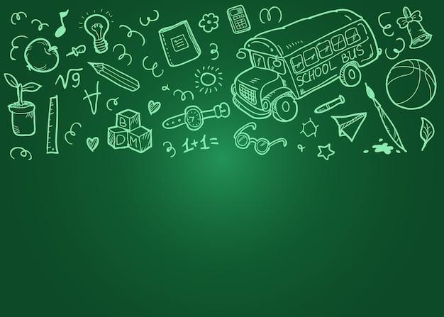 いたずら書きを学校の概念の背景に戻る。緑の教育委員会。