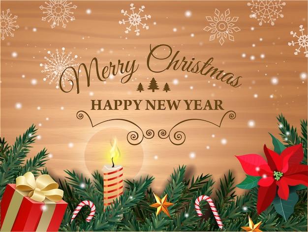 クリスマスと新年。クリスマスツリー、ギフトボックス、ヤドリギの花、ろうそく、キャラメル杖のグリーティングカード
