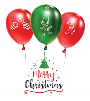 Рождественская открытка с зелеными и красными воздушными шарами с рисунками. ред текст. праздничная каллиграфия. типография плакат.