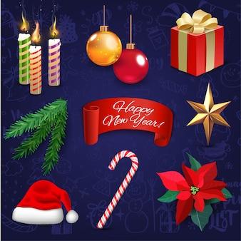 Значки украшения праздника нового года рождества реалистические установили иллюстрацию. фон с мегасеткой рождественских каракулей