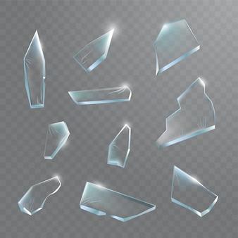 ガラスの破片。透明な背景に粉々になったガラス。リアルなイラスト