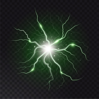 Вспышка молнии и искра. удары молнии и искры, электрическая энергия на темном прозрачном фоне.