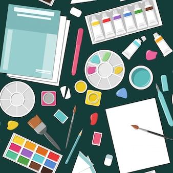 紙、ブラシ、ペイントボックス、ペイント、パレット、アクアブラシ、鉛筆、水彩画とのシームレスなパターン。美術学校。