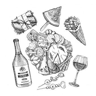 ピクニックフード。サンドイッチ、チーズボード、ワイン、フルーツの手描きのベクトルスケッチ。夏のおやつ