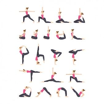 Йога упражнения коллекция иконок