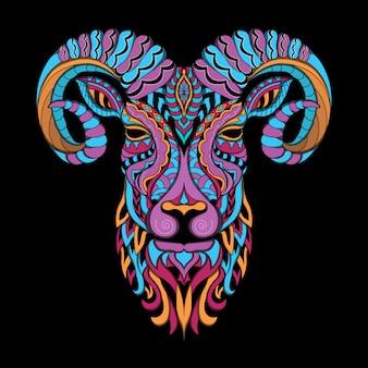Стилизованный козел в этническом стиле