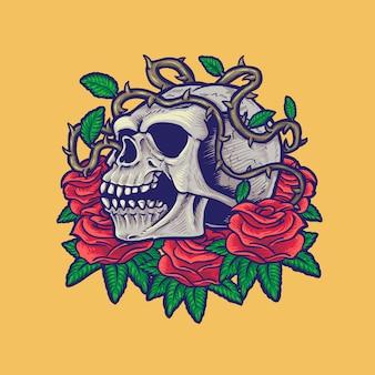 頭蓋骨とバラ