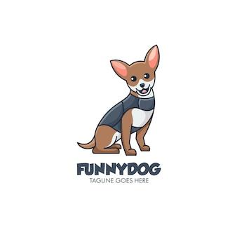 Иллюстрация логотипа смешная собака простой талисман в мультяшном стиле