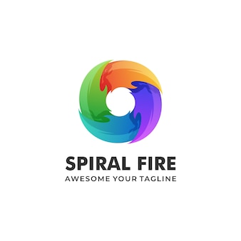 カラフルなスパイラル火災グラデーションのロゴの図