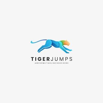 Логотип иллюстрация тигр прыжок градиент красочный