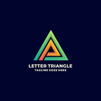 Логотип иллюстрация абстрактные буква треугольник градиент красочный