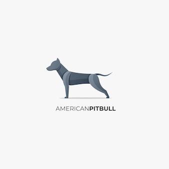 Логотип иллюстрация американский питбуль градиент красочный