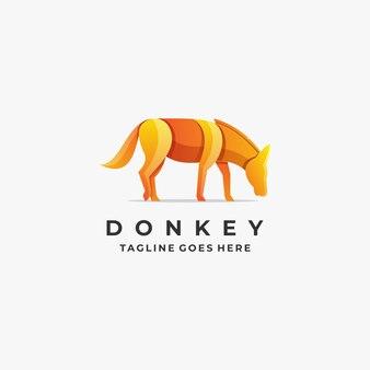 Логотип иллюстрация осел поза градиент красочный