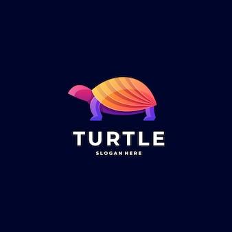 Логотип иллюстрация черепаха градиент красочный стиль.