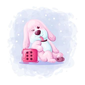 Мультфильм милая собака с векторной иллюстрацией игры в кости