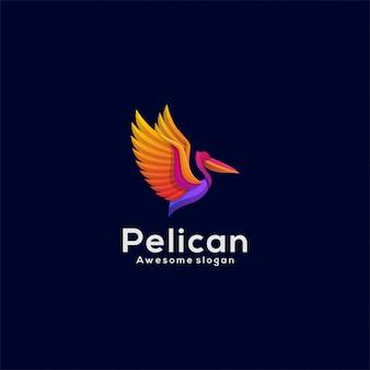 Логотип иллюстрация пеликан градиент красочный стиль.