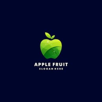 Логотип иллюстрация свежий яблочный градиент красочный стиль.