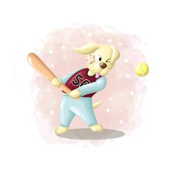 Мультфильм рисования собака играет в бейсбол иллюстрации вектор