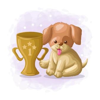 Иллюстрация милый мультфильм собака победитель