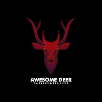 ロゴイラスト素晴らしい鹿グラデーションカラフルなスタイル。
