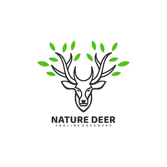 ロゴイラスト自然鹿ラインアートスタイル。