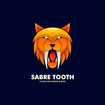 Логотип иллюстрация сабля зуб градиент красочный стиль.