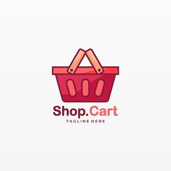 Логотип иллюстрация магазин корзина милый мультфильм.
