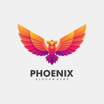 Логотип иллюстрация феникс градиент красочный стиль.