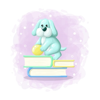 Мультфильм милый пес шаг на книжной иллюстрации