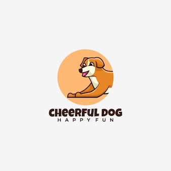 Логотип веселая собака простой талисман.