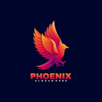 Логотип феникс градиент красочный стиль.