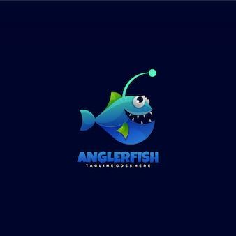 ロゴ釣り人魚グラデーションカラフルなスタイル。