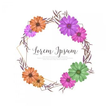 水彩デイジーの花の花輪の花のフレーム