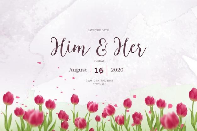 Акварель красные тюльпаны свадебные приглашения