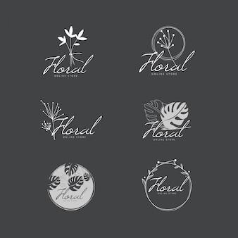 エレガントな最小限の花のロゴコレクション